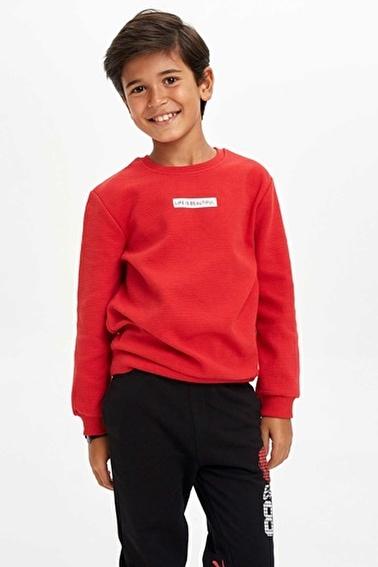DeFacto Yazı Baskılı Sweatshirt Kırmızı